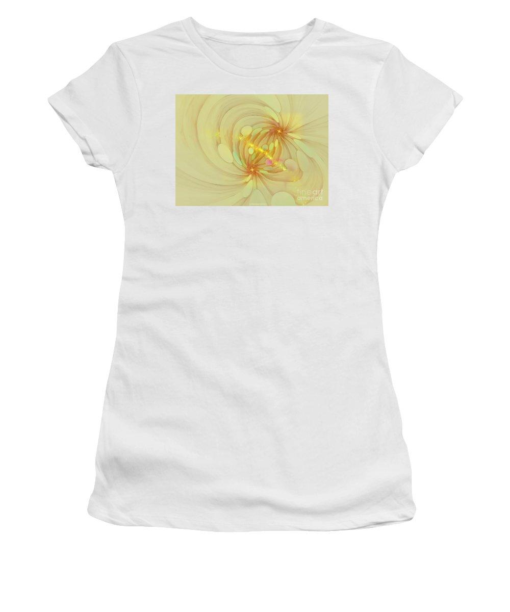 Fractal Women's T-Shirt (Athletic Fit) featuring the digital art Spiral Mind Connection by Deborah Benoit