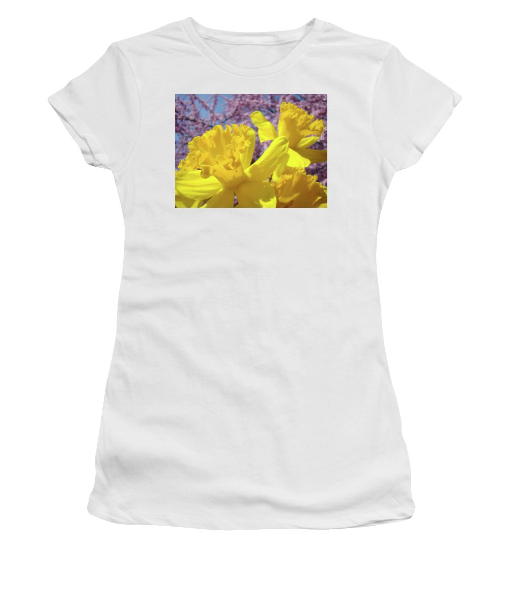 Flowers Women's T-Shirt (Athletic Fit) featuring the photograph Spring Art Prints Yellow Daffodils Flowers Pink Blossoms Baslee Troutman by Baslee Troutman