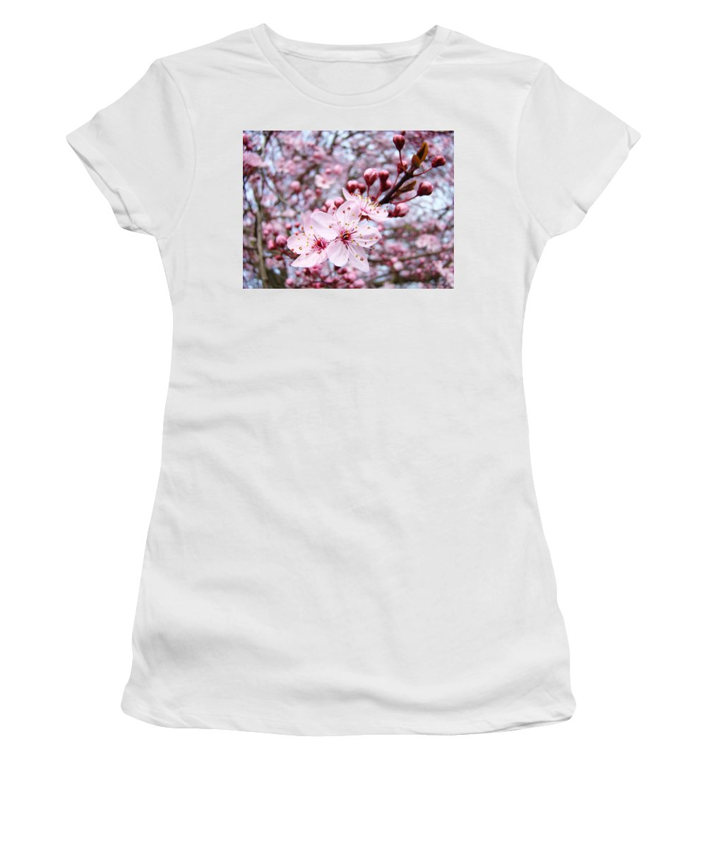 Blossom Women's T-Shirt (Athletic Fit) featuring the photograph Spring Blossoms Art Pink Tree Blossom Baslee Troutman by Baslee Troutman