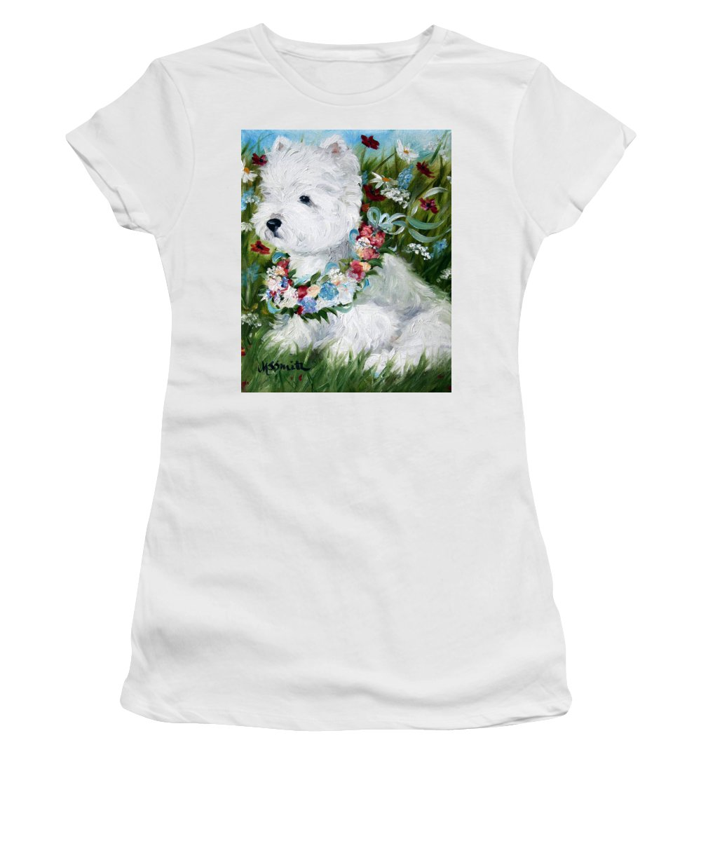 Art Women's T-Shirt featuring the painting Spring Breezes by Mary Sparrow
