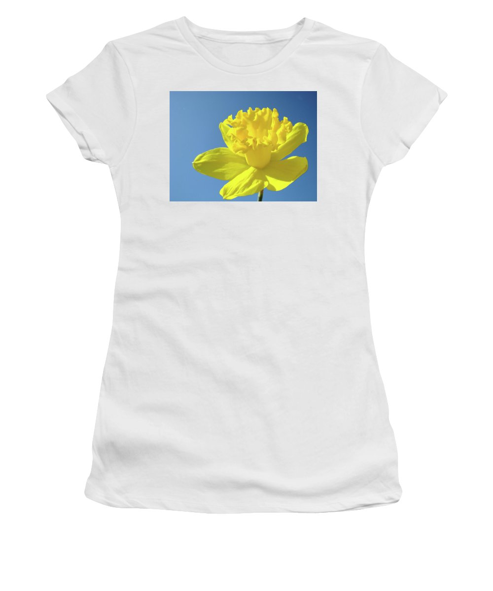 Sky Women's T-Shirt (Athletic Fit) featuring the photograph Spring Daffodil Flowers Art Prints Blue Sky Baslee Troutman by Baslee Troutman
