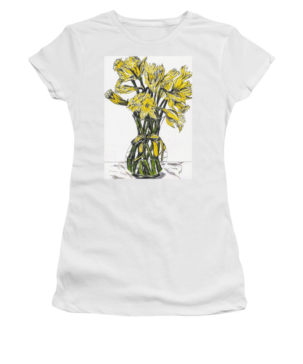 Flower Women's T-Shirt (Athletic Fit) featuring the mixed media Spring Daffodils by Vicki Housel