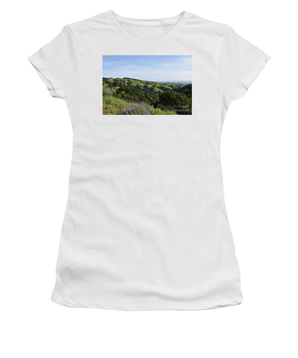 Landscape Women's T-Shirt featuring the photograph Spring Hills by Suzanne Leonard