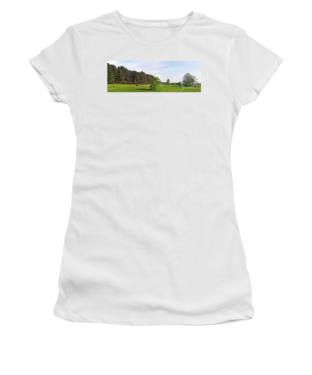 Landscape Women's T-Shirt (Athletic Fit) featuring the photograph Spring Meadow by Vadzim Kandratsenkau