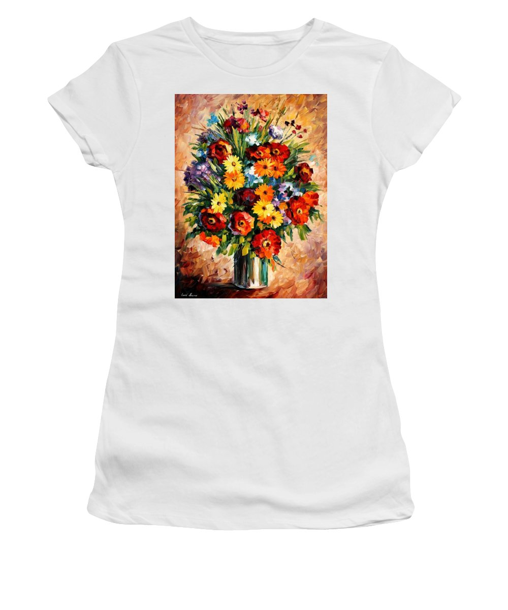 Afremov Women's T-Shirt (Athletic Fit) featuring the painting Spring Passion by Leonid Afremov