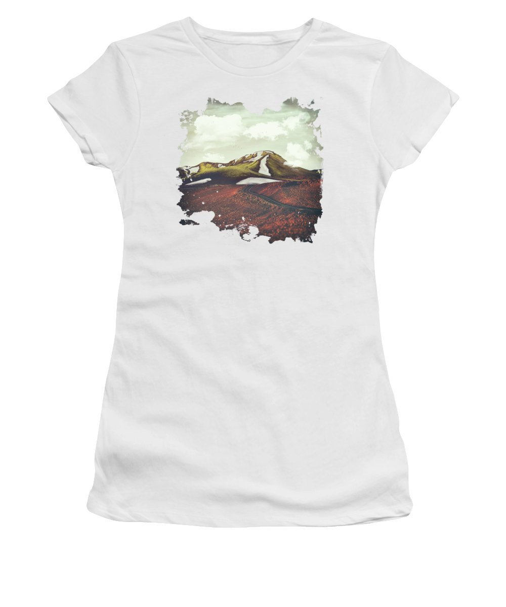 Landscape Spring Winter Dreamscape Hills Mountains Women's T-Shirt featuring the digital art Spring Thaw by Katherine Smit