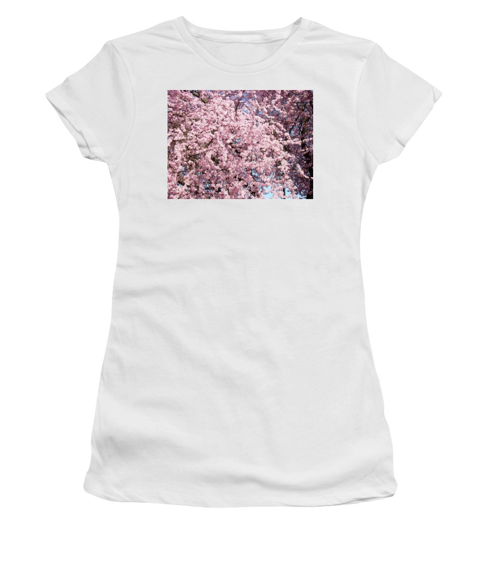 Tree Women's T-Shirt (Athletic Fit) featuring the photograph Spring Trees Art Prints Pink Springtime Blossoms Baslee Troutman by Baslee Troutman