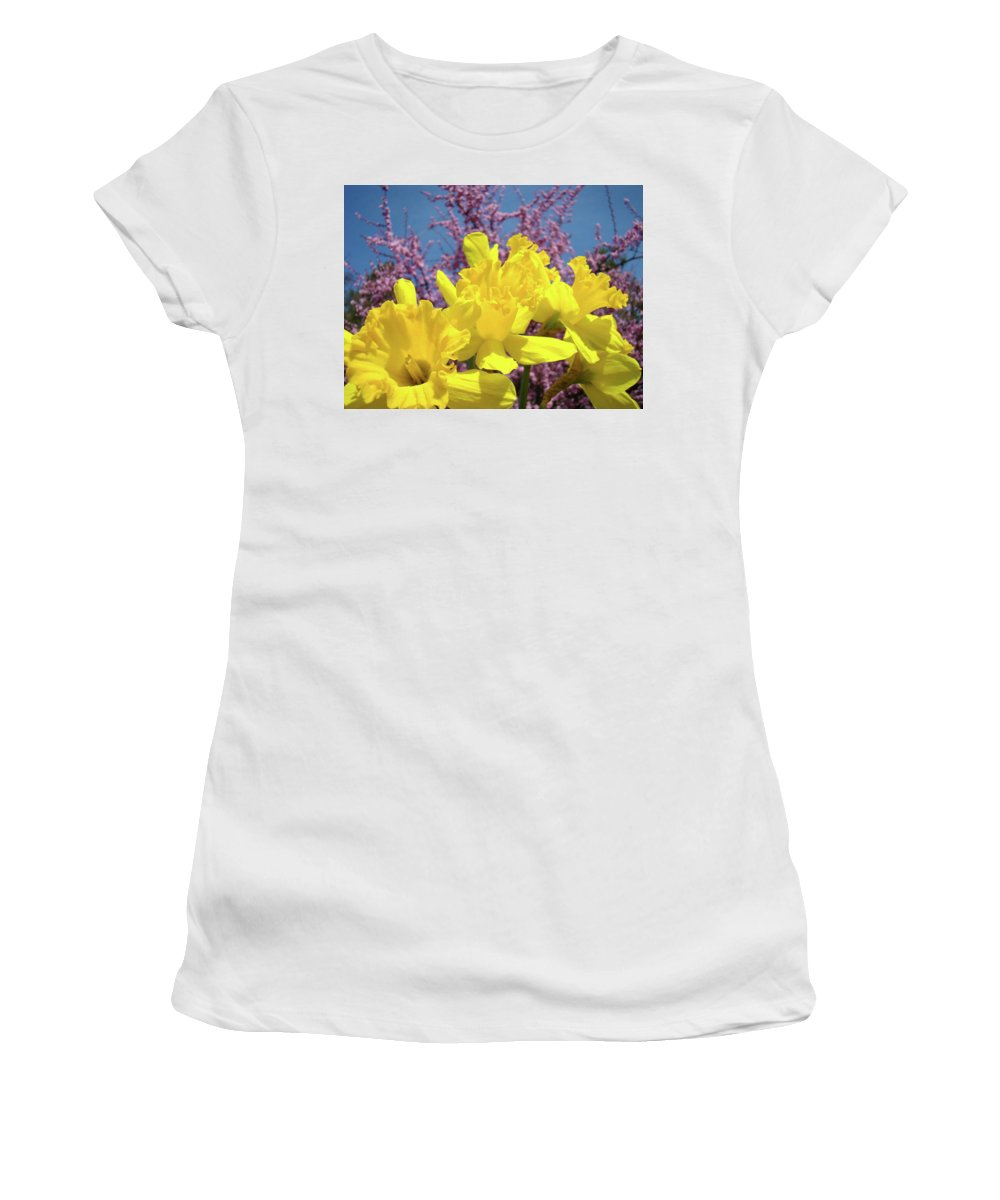 Nature Women's T-Shirt (Athletic Fit) featuring the photograph Springtime Yellow Daffodils Art Print Pink Blossoms Blue Sky Baslee Troutman by Baslee Troutman