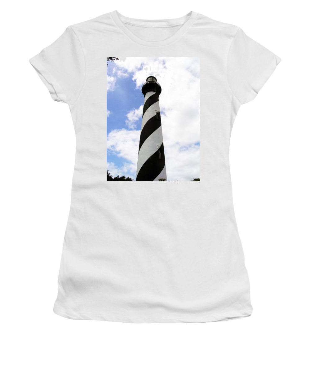 Lighthouse; Light; House; Keeper; St. Augustine; Florida; Coast; Shine; Fog; Storms; U.s. Coast Guar Women's T-Shirt (Athletic Fit) featuring the photograph St. Augustine Light by Allan Hughes