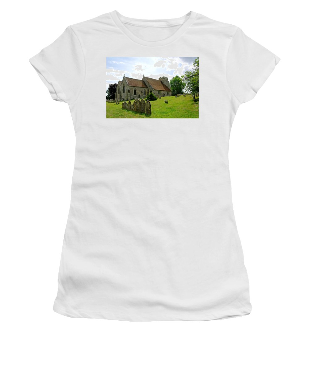 Arreton Women's T-Shirt (Athletic Fit) featuring the photograph St George's Church At Arreton by Rod Johnson