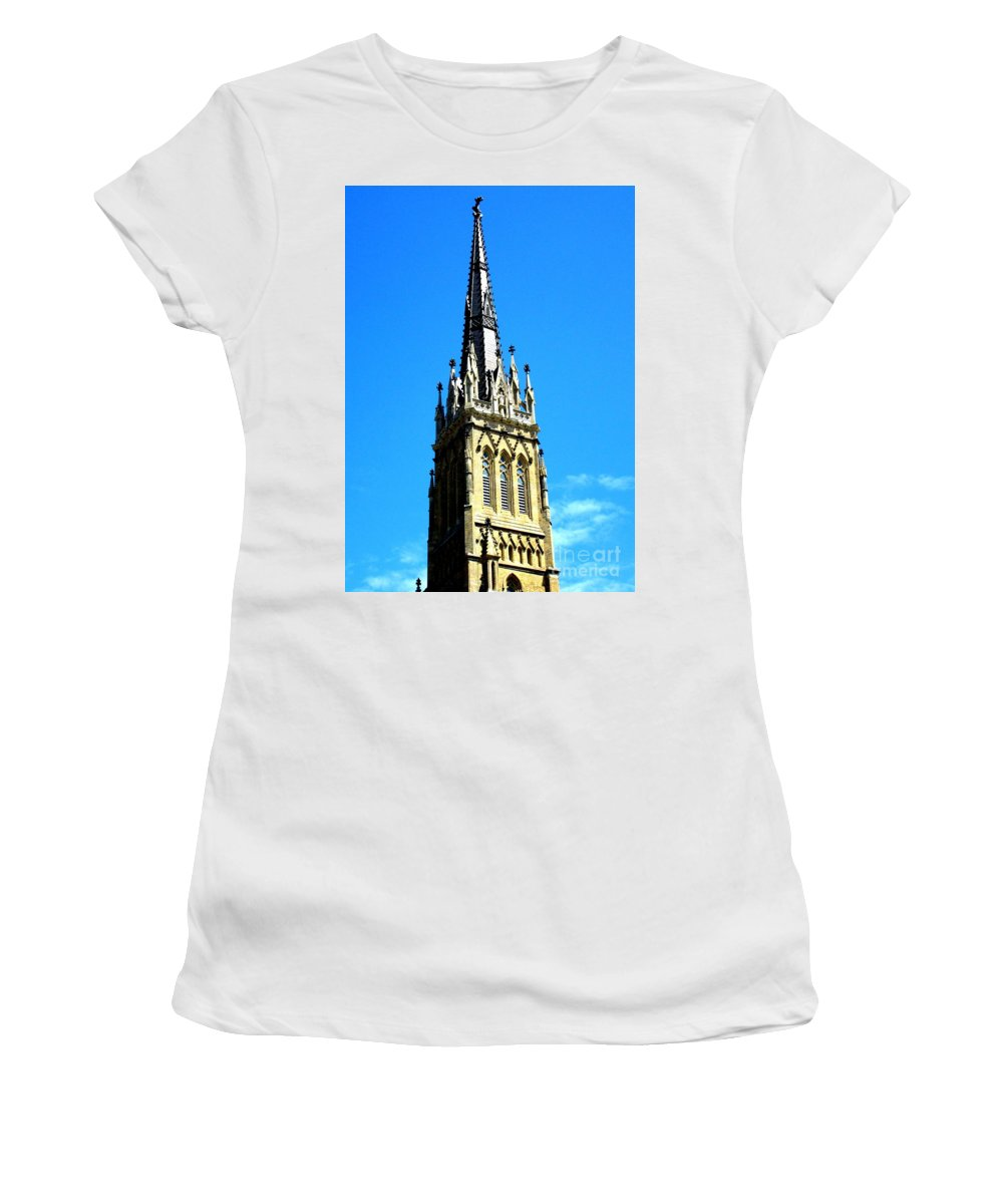 Downtown Toronto Women's T-Shirt (Athletic Fit) featuring the photograph St. James Cathedral by Randall Weidner