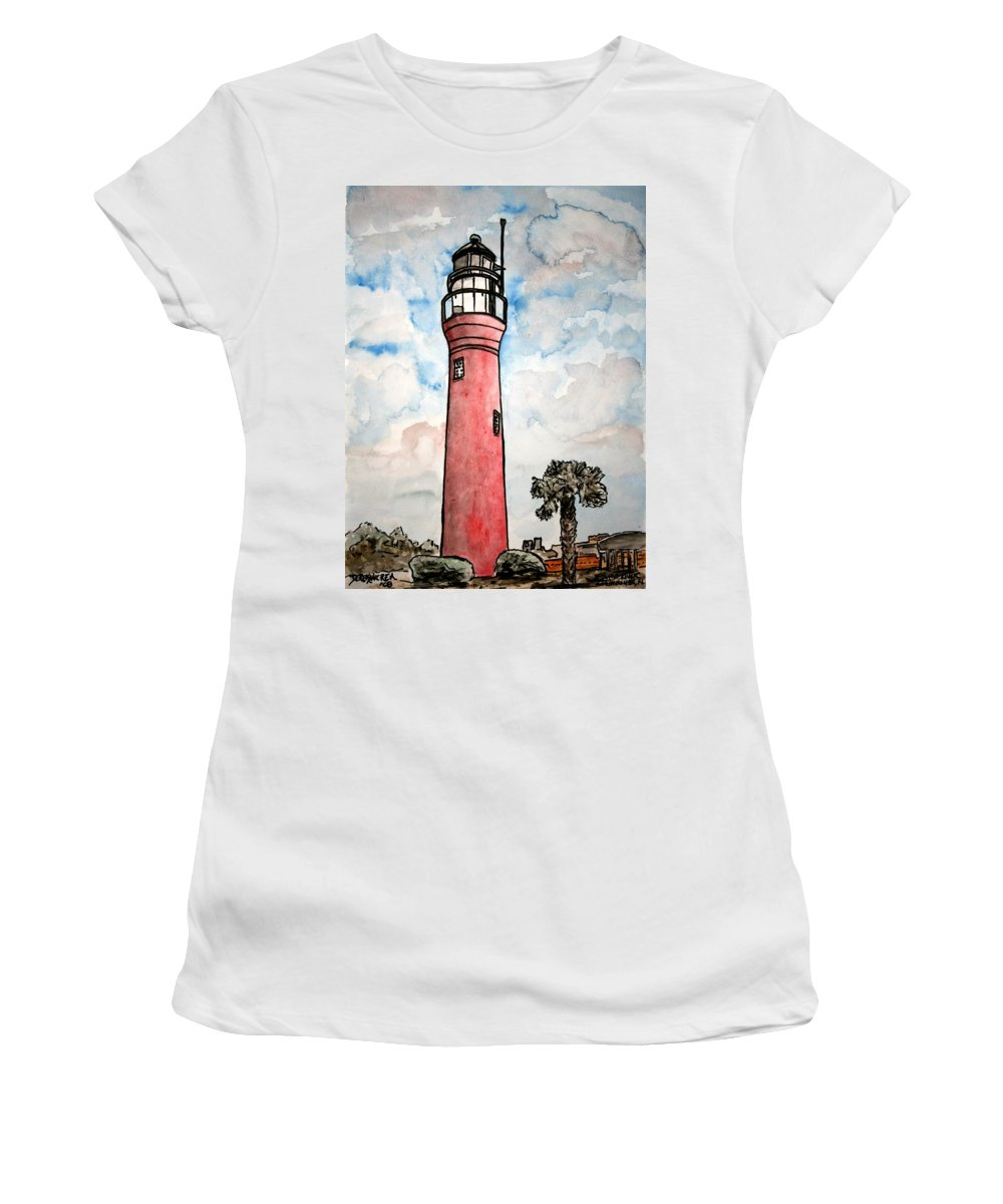 Lighthouse Women's T-Shirt (Athletic Fit) featuring the painting St Johns River Lighthouse Florida by Derek Mccrea