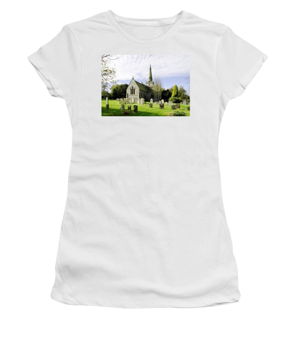 Grey Women's T-Shirt (Athletic Fit) featuring the photograph St Leonard's Church At Monyash by Rod Johnson
