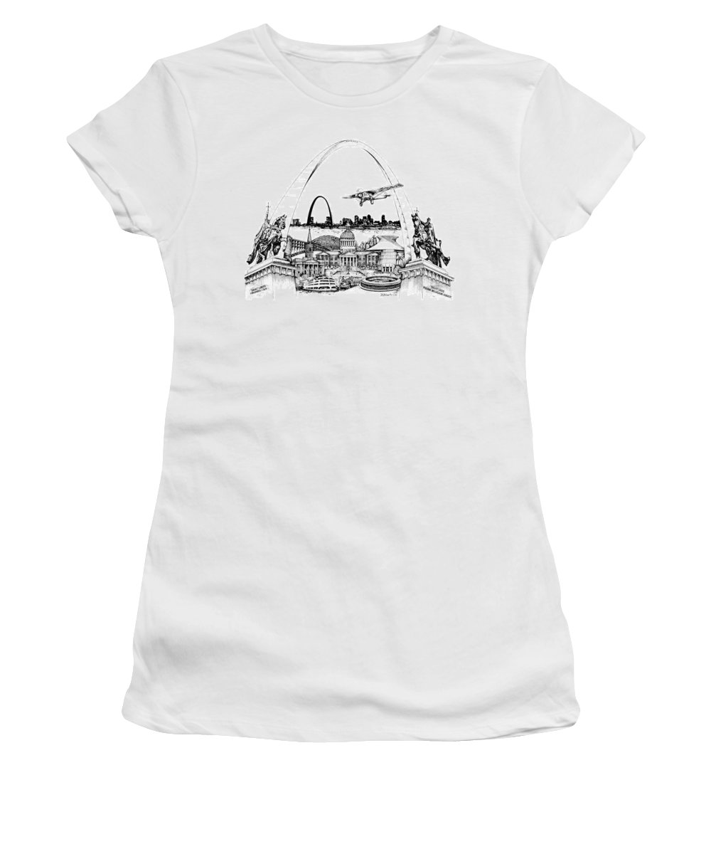 City Drawing Women's T-Shirt (Athletic Fit) featuring the drawing St. Louis Highlights Version 1 by Dennis Bivens