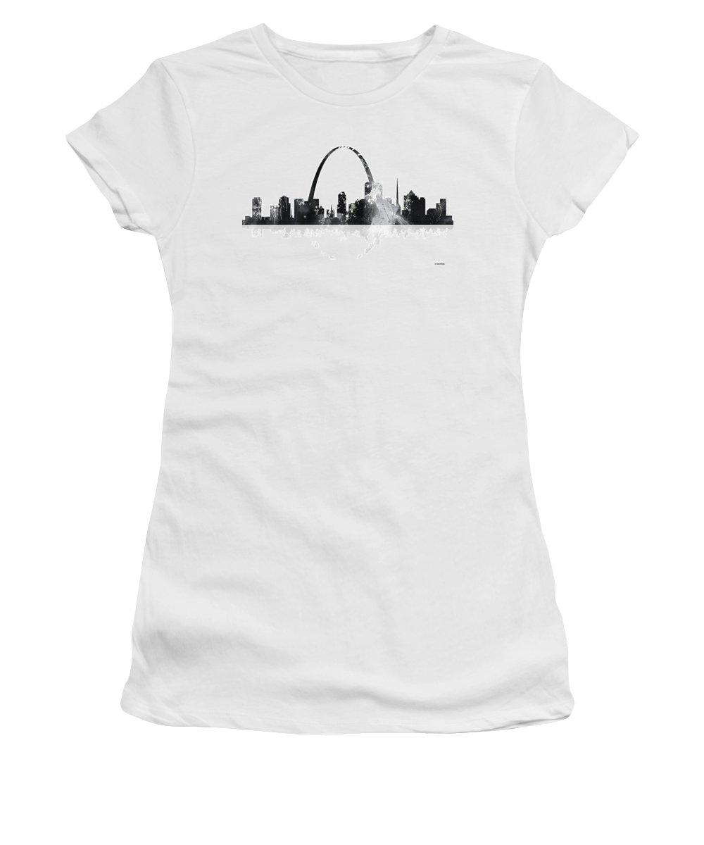 St Louis Missouri Skyline Women's T-Shirt featuring the digital art St Louis Missouri Skyline by Marlene Watson