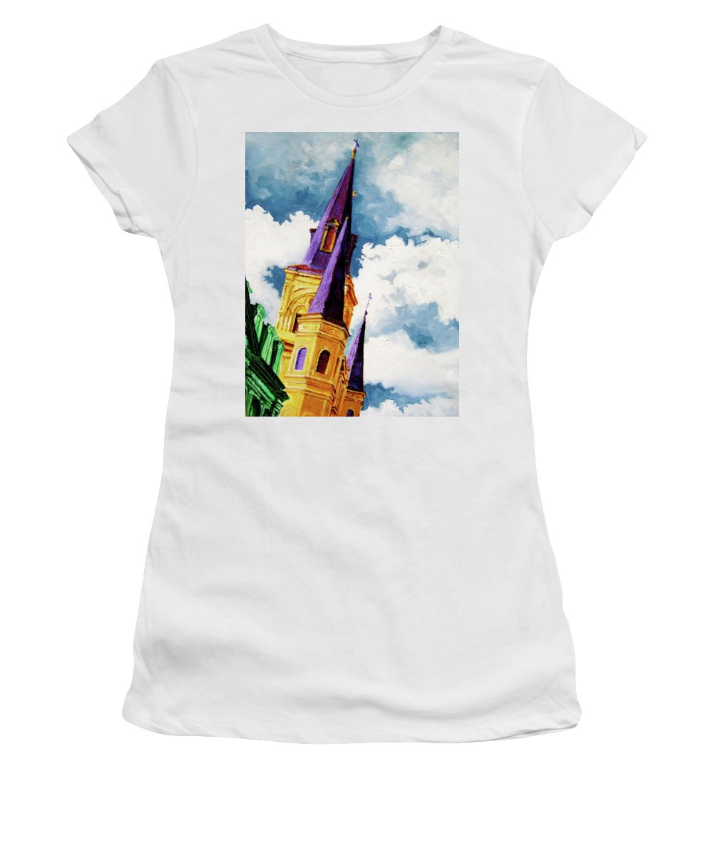 Church Women's T-Shirt featuring the painting St. Peter's by Laura Pierre-Louis