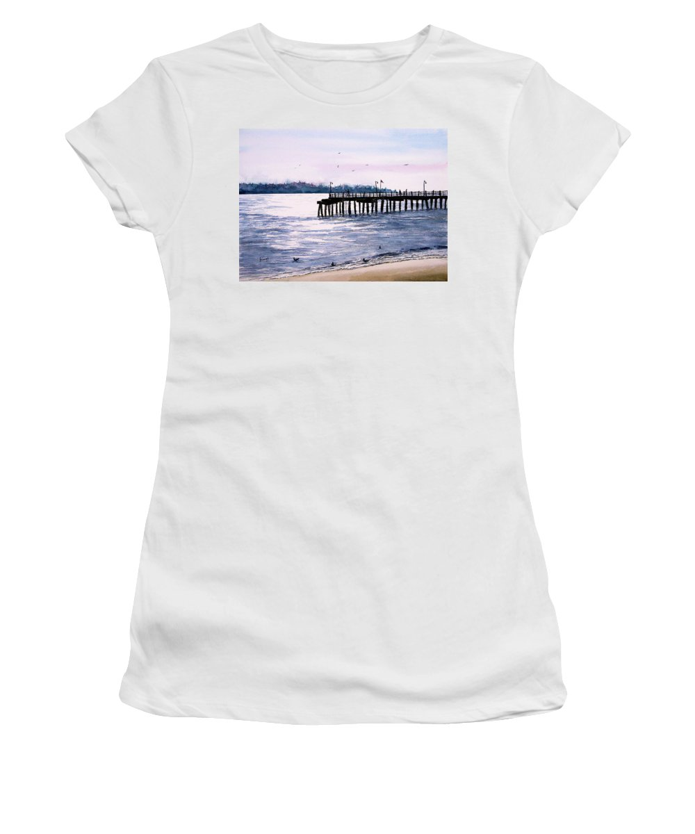 Fishing Women's T-Shirt (Athletic Fit) featuring the painting St. Simons Island Fishing Pier by Sam Sidders