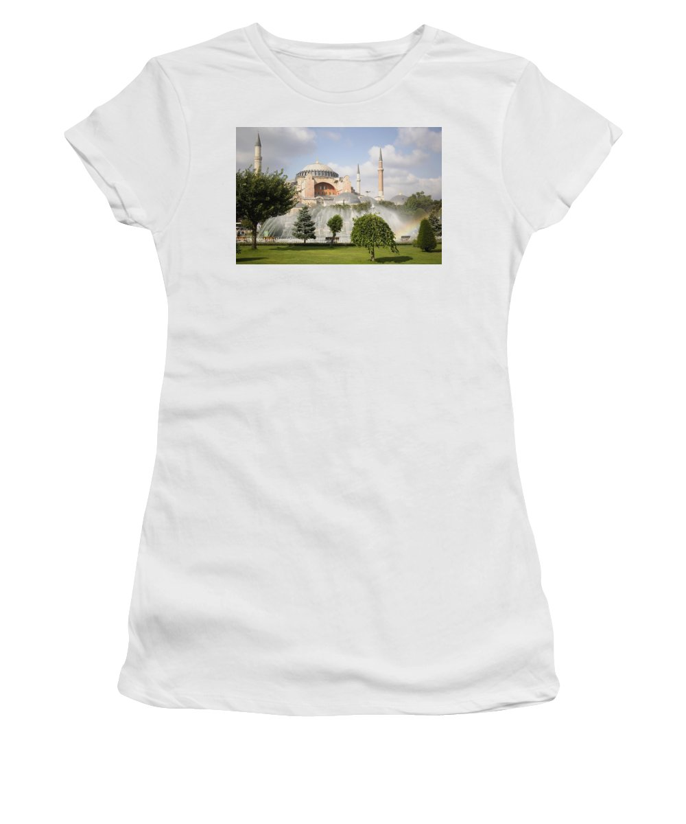 Water Women's T-Shirt (Athletic Fit) featuring the photograph St Sophia Mosque And Fountain In Park by Axiom Photographic
