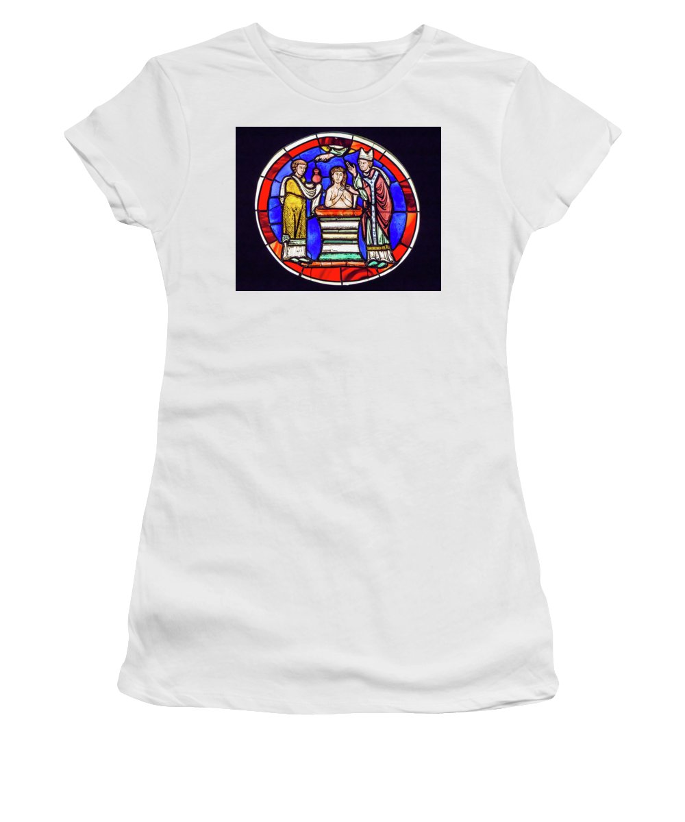 Stained Glass Women's T-Shirt featuring the photograph Stained Glass - Baptism - Musee De Cluny by Edward Burchnall