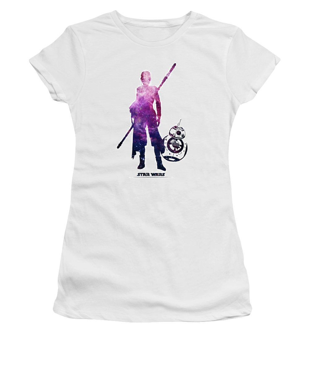 Star Wars Women's T-Shirt (Athletic Fit) featuring the digital art Star Wars Rey And Bb-8 by Elmas POLAT BASOGLU