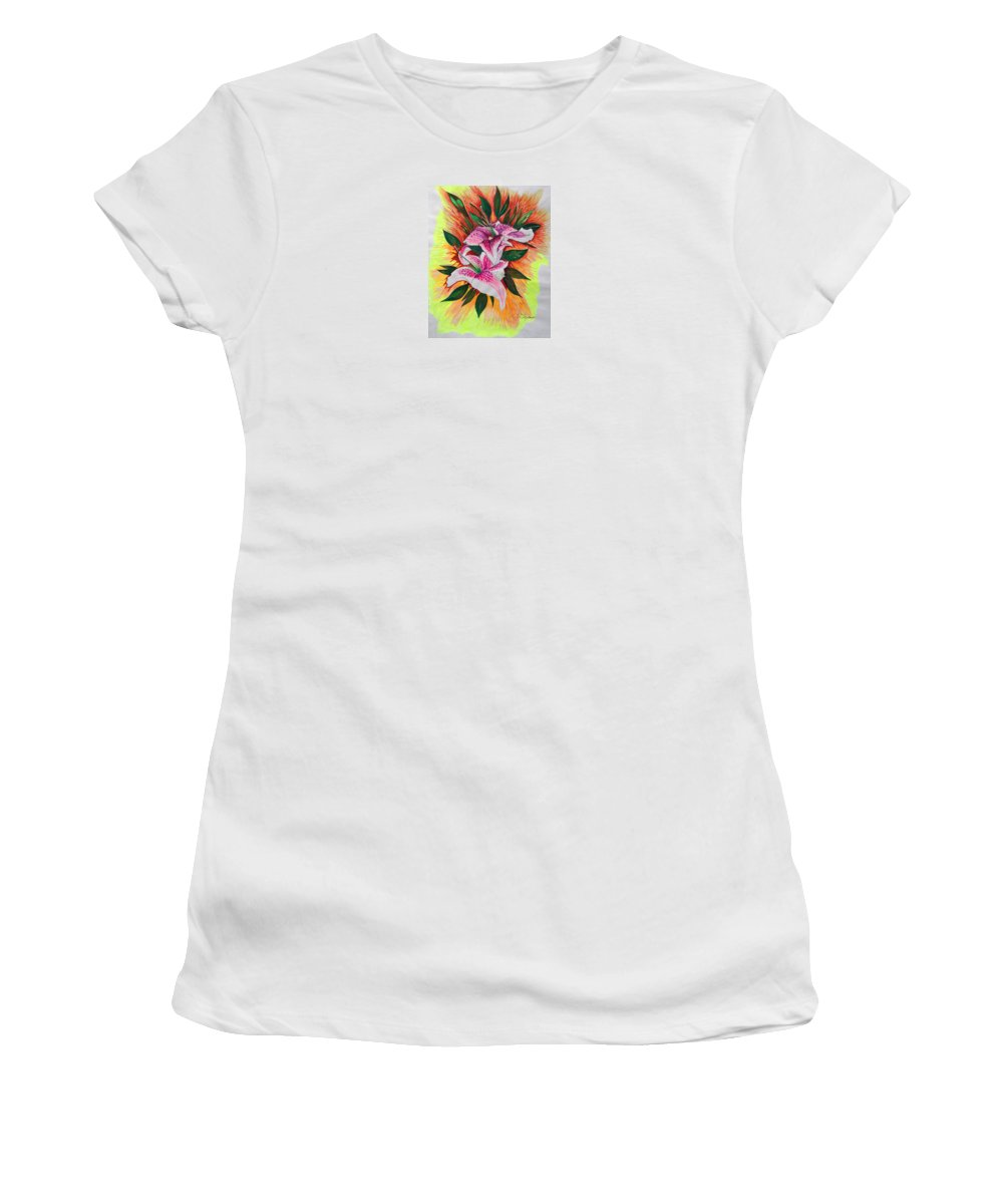 Flowers Women's T-Shirt (Athletic Fit) featuring the drawing Stargazers by J R Seymour