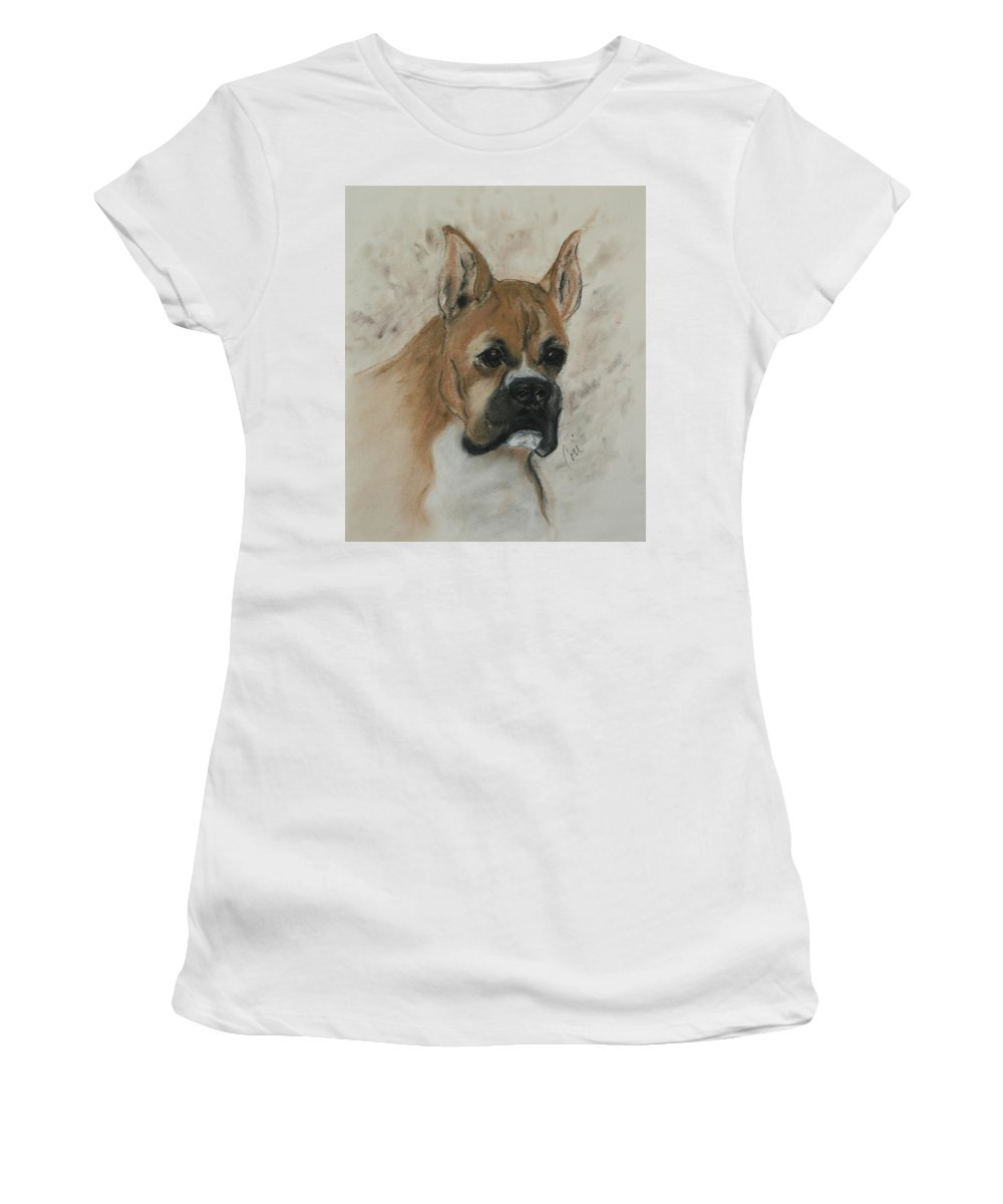 Dog Women's T-Shirt (Athletic Fit) featuring the drawing Steady Goes It by Cori Solomon