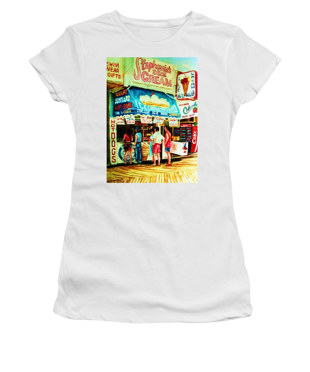 Children Women's T-Shirt (Athletic Fit) featuring the painting Stephanies Icecream Stand by Carole Spandau