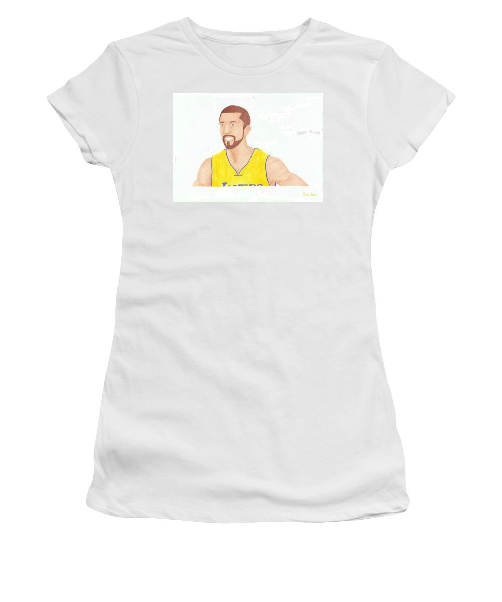 Basketball Women's T-Shirt featuring the drawing Steve Blake by Toni Jaso