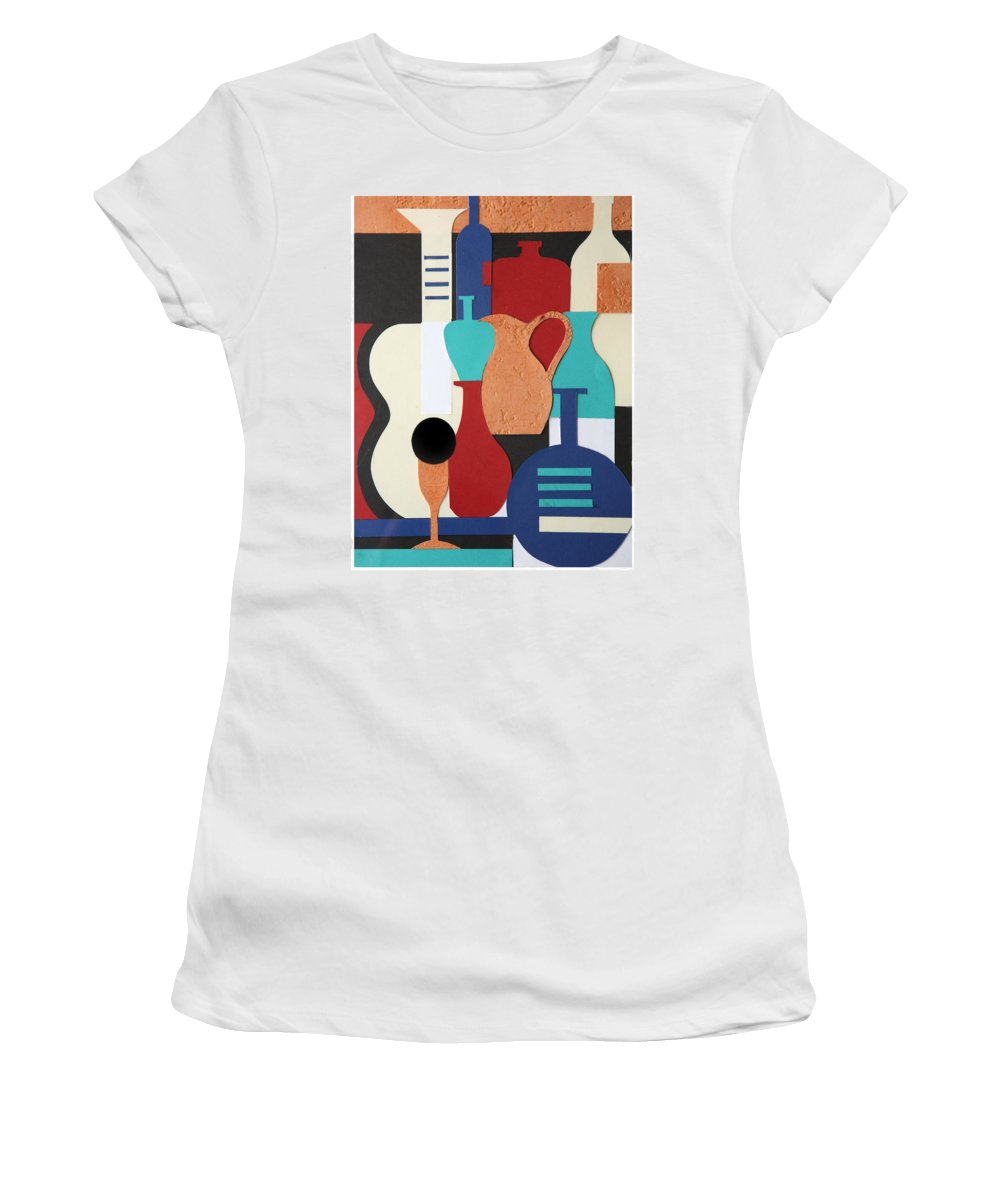 Still Life Women's T-Shirt (Athletic Fit) featuring the mixed media Still Life Paper Collage Of Wine Glasses Bottles And Musical Instruments by Mal Bray