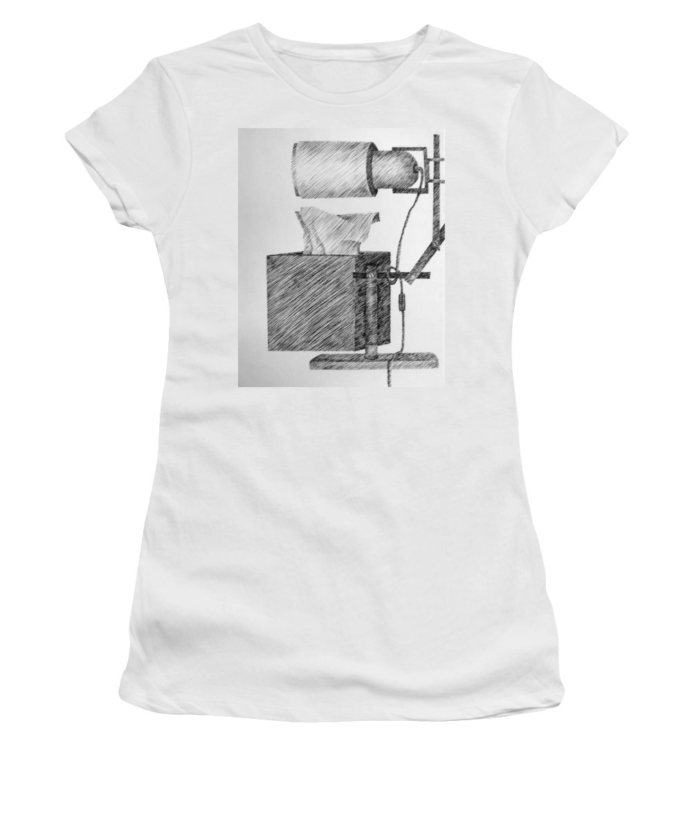 Still Life Women's T-Shirt (Athletic Fit) featuring the drawing Still Life With Lamp And Tissues by Michelle Calkins