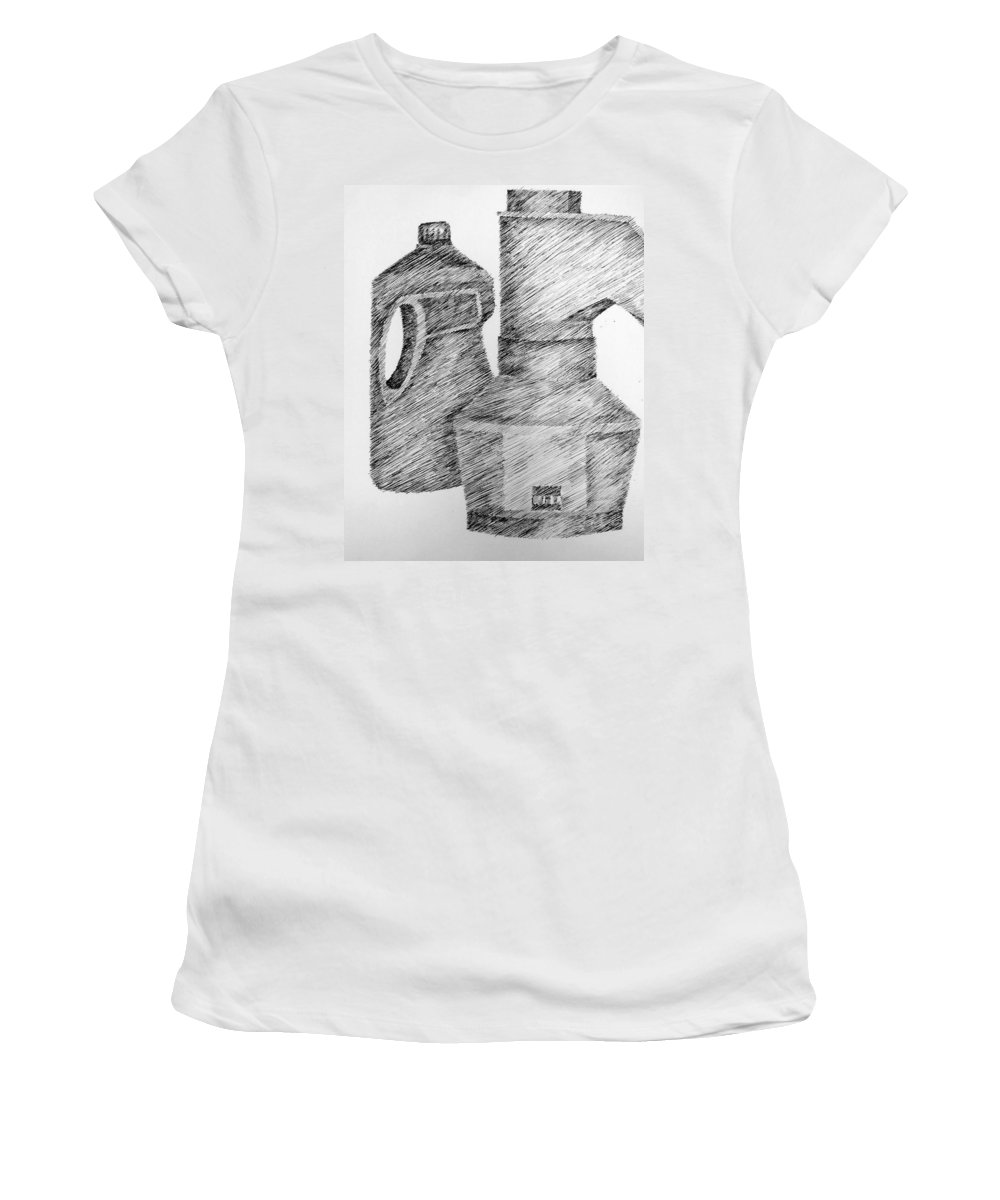 Still Life Women's T-Shirt (Athletic Fit) featuring the drawing Still Life With Popcorn Maker And Laundry Soap Bottle by Michelle Calkins
