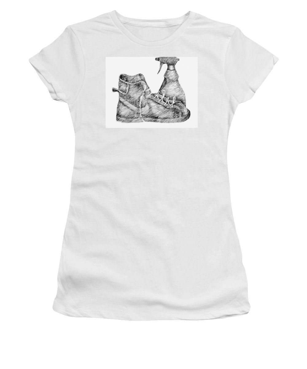 Pen Women's T-Shirt (Athletic Fit) featuring the drawing Still Life With Shoe And Spray Bottle by Michelle Calkins