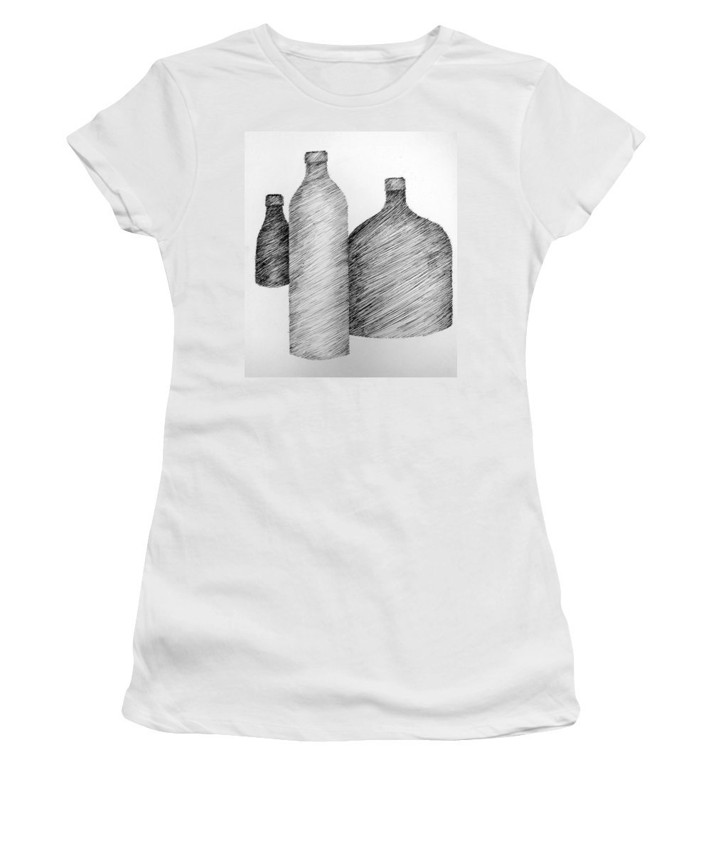 Still Life Women's T-Shirt (Athletic Fit) featuring the drawing Still Life With Three Bottles by Michelle Calkins