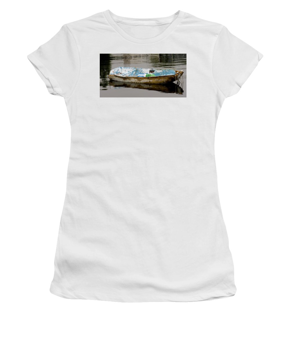 New England Boats Nancie's Photography Women's T-Shirt (Athletic Fit) featuring the photograph Still Waters by Nancie DeMellia