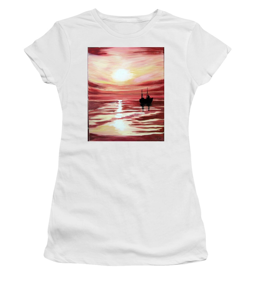 Seascape Women's T-Shirt (Athletic Fit) featuring the painting Still Waters Run Deep by Marco Morales