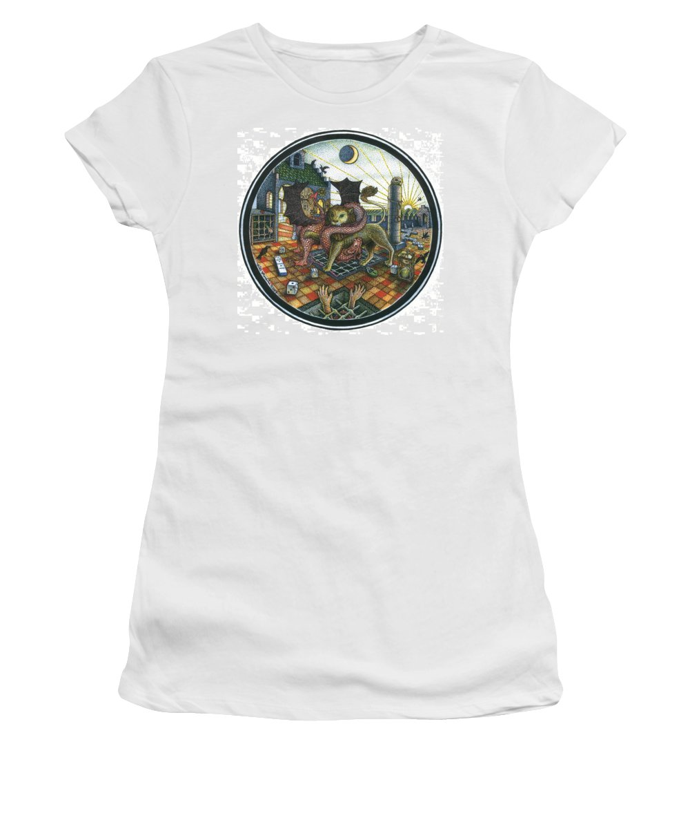 Dragon Women's T-Shirt featuring the drawing Strange Reverie by Bill Perkins