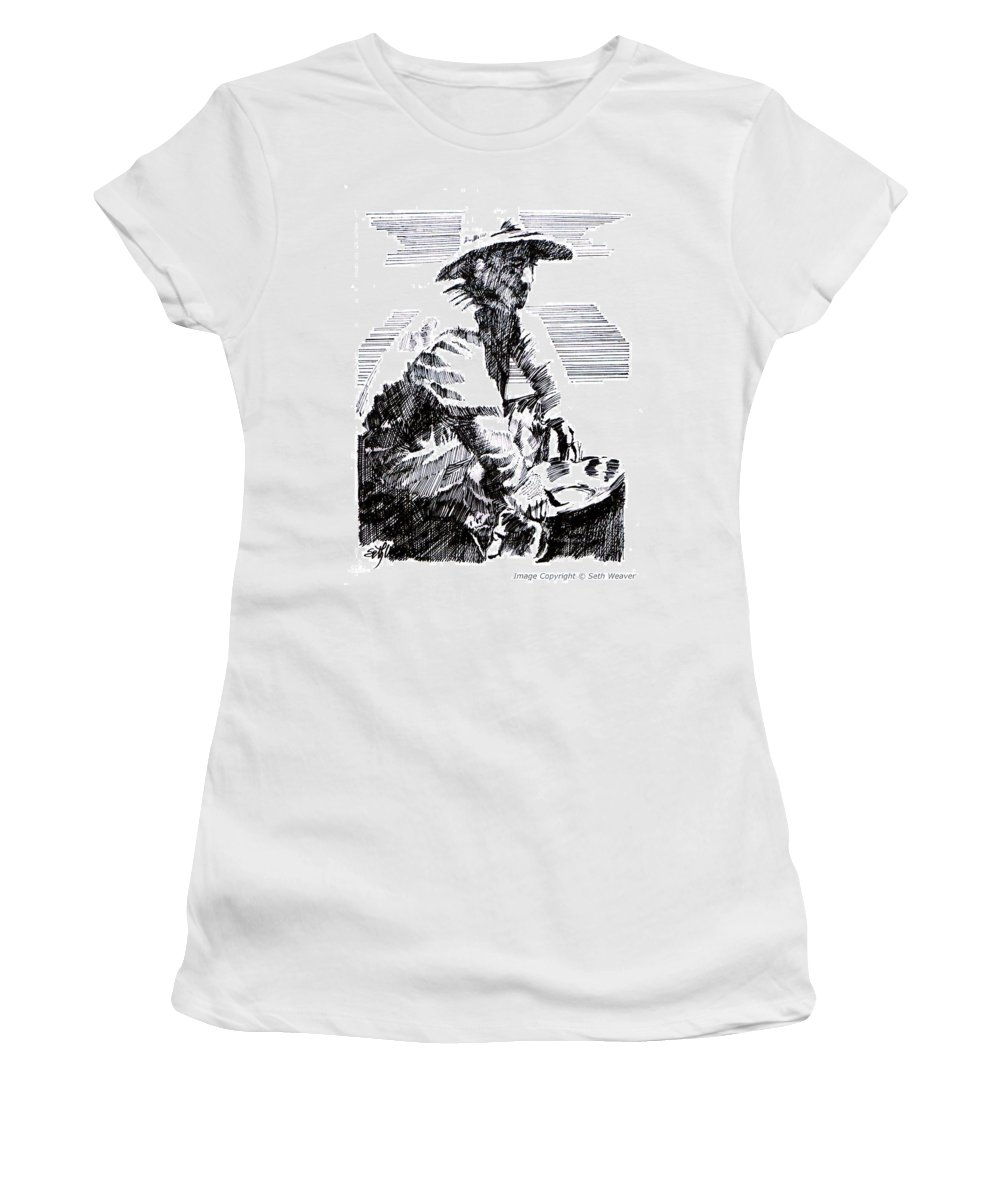 1850's Old West Women's T-Shirt (Athletic Fit) featuring the drawing Striking It Rich by Seth Weaver
