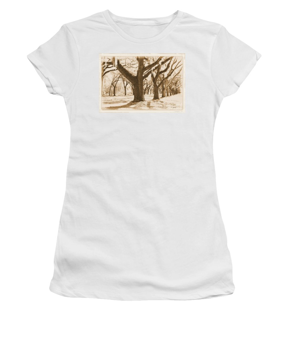 Sepia Women's T-Shirt (Athletic Fit) featuring the photograph Strong And Proud In The South - Old World by Carol Groenen