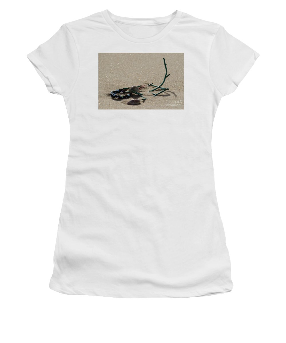 Beach Women's T-Shirt (Athletic Fit) featuring the photograph Stuck In The Sand by Neil Taitel