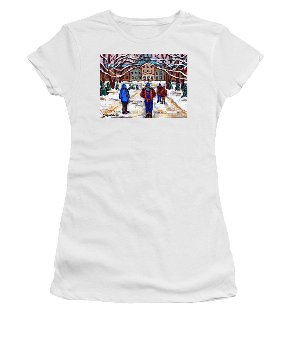 Mcgill Art Women's T-Shirt featuring the painting L'art De Mcgill University Tableaux A Vendre Montreal Art For Sale Petits Formats Mcgill Paintings by Carole Spandau