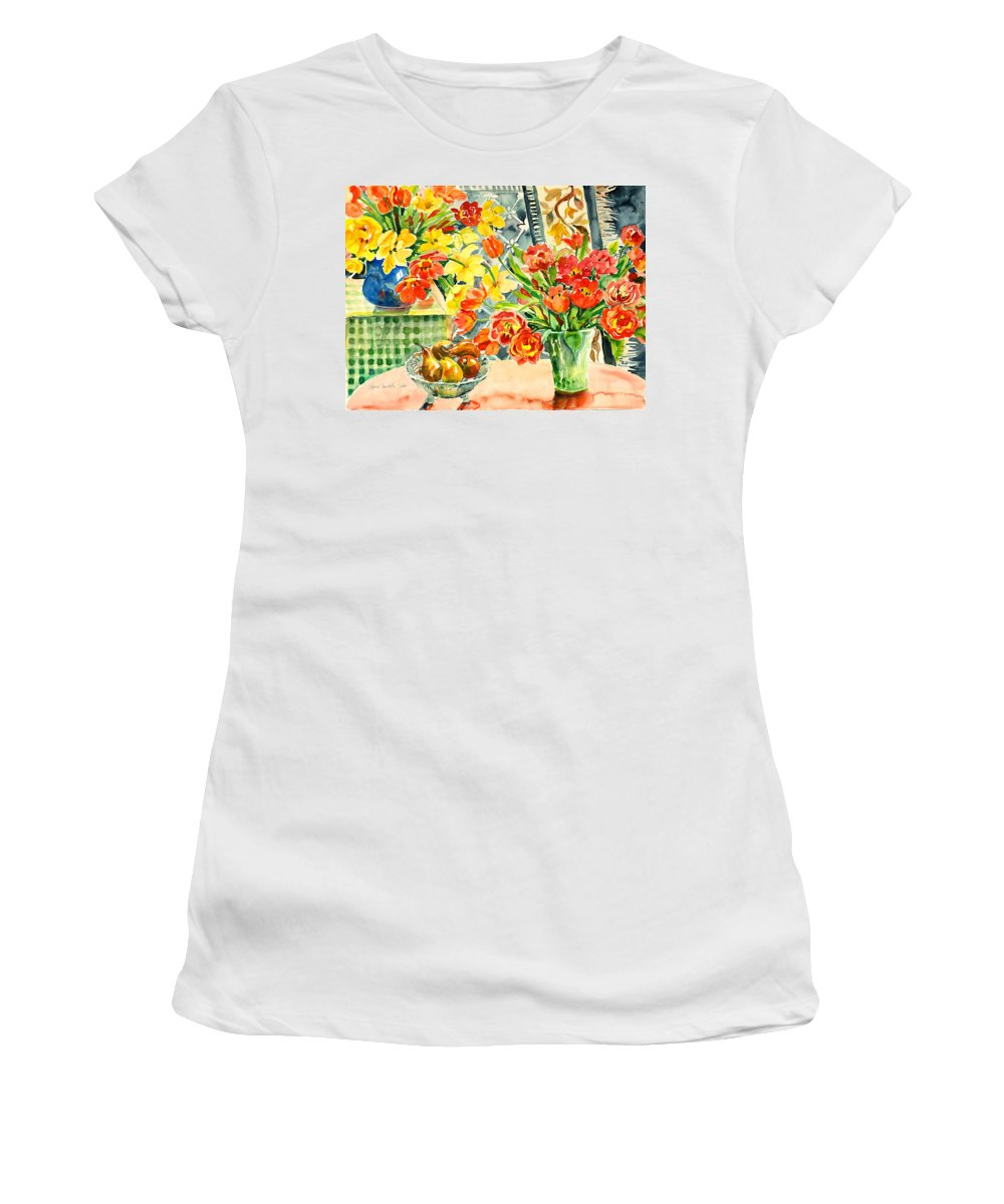 Watercolor Women's T-Shirt featuring the painting Studio Still Life by Ingrid Dohm