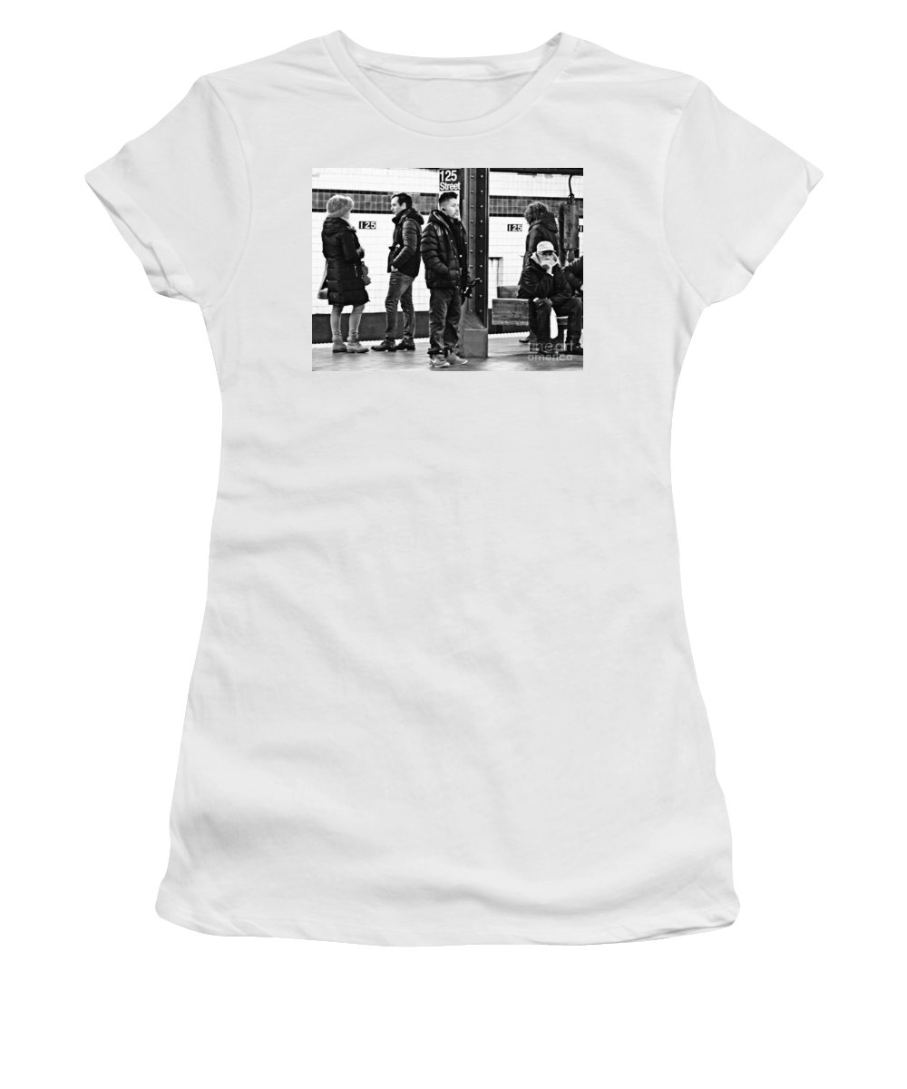 People Women's T-Shirt (Athletic Fit) featuring the photograph Subway Platform At 125th Street by Sarah Loft