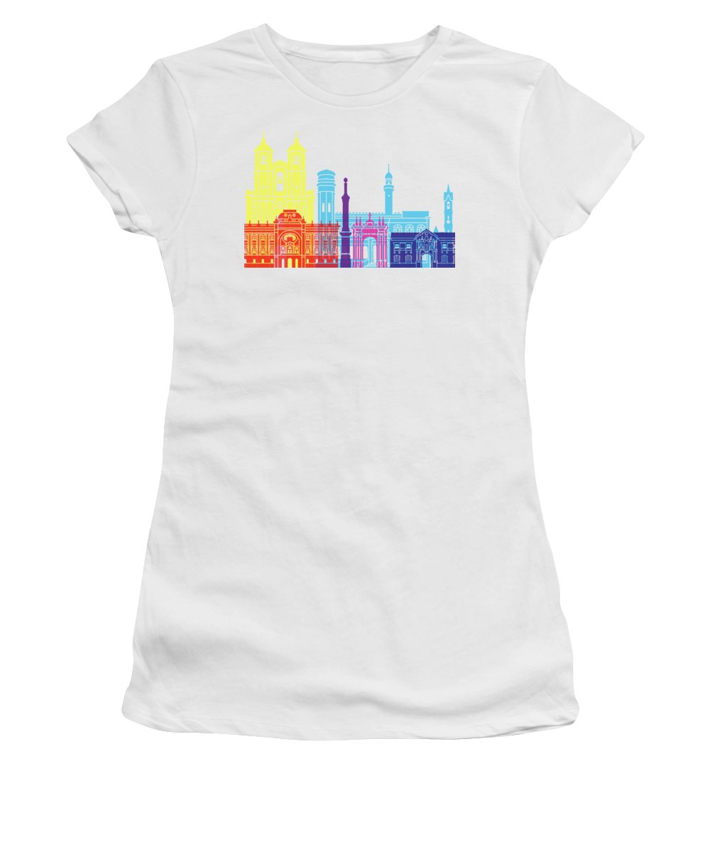 Sucre Women's T-Shirt (Athletic Fit) featuring the painting Sucre Skyline Pop by Pablo Romero