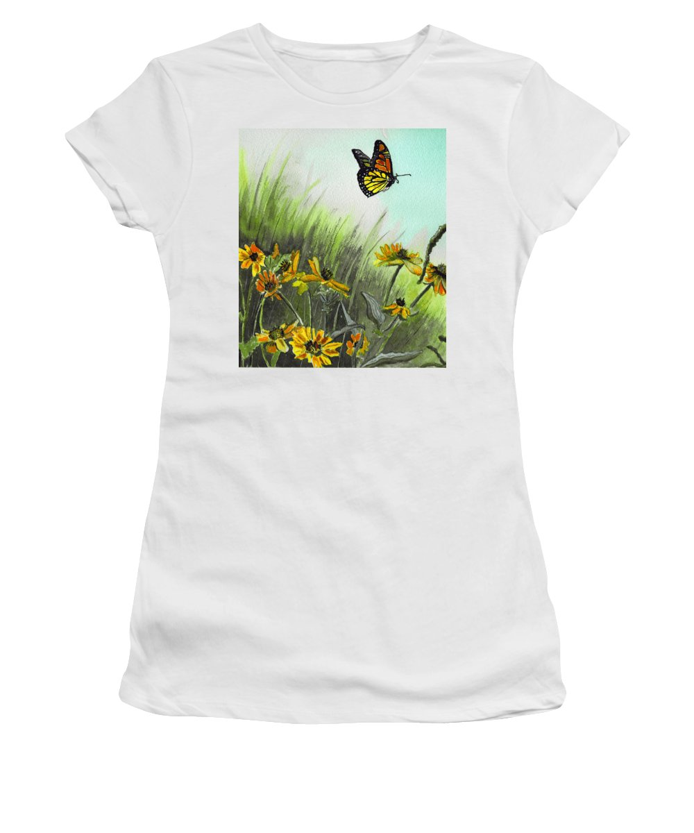 Landscape Women's T-Shirt (Athletic Fit) featuring the painting Summer Flight by Brenda Owen