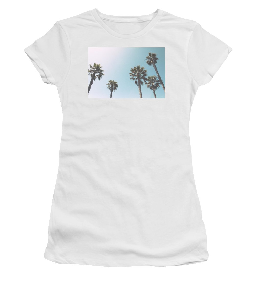 Palm Trees Women's T-Shirt featuring the photograph Summer Sky- by Linda Woods by Linda Woods