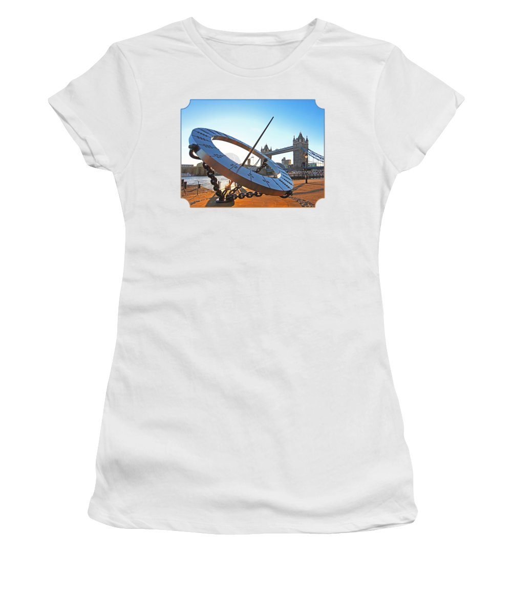 London Women's T-Shirt (Athletic Fit) featuring the photograph Sun Dial And Tower Bridge London by Gill Billington