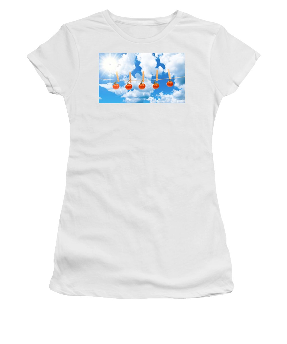 Sun Women's T-Shirt (Athletic Fit) featuring the photograph Sun Dried Tomatoes by Amanda Elwell