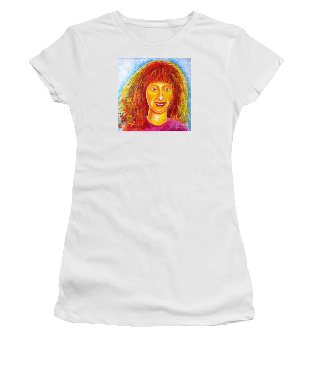 Portrait Women's T-Shirt (Athletic Fit) featuring the painting Sun In Soul by Stella Velka