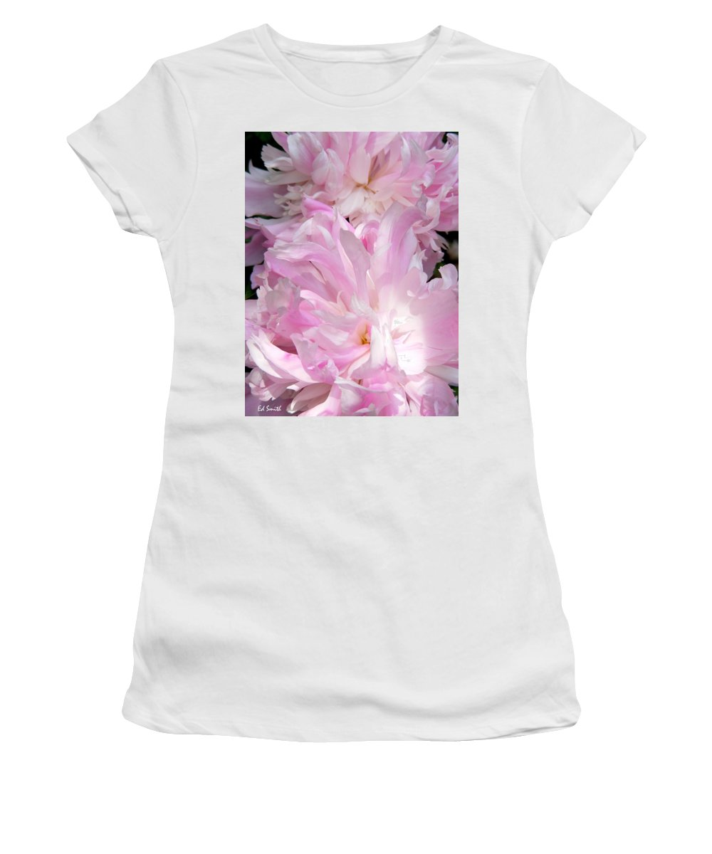 Sun Lit Peonies Women's T-Shirt (Athletic Fit) featuring the photograph Sun Lit Peonies by Ed Smith