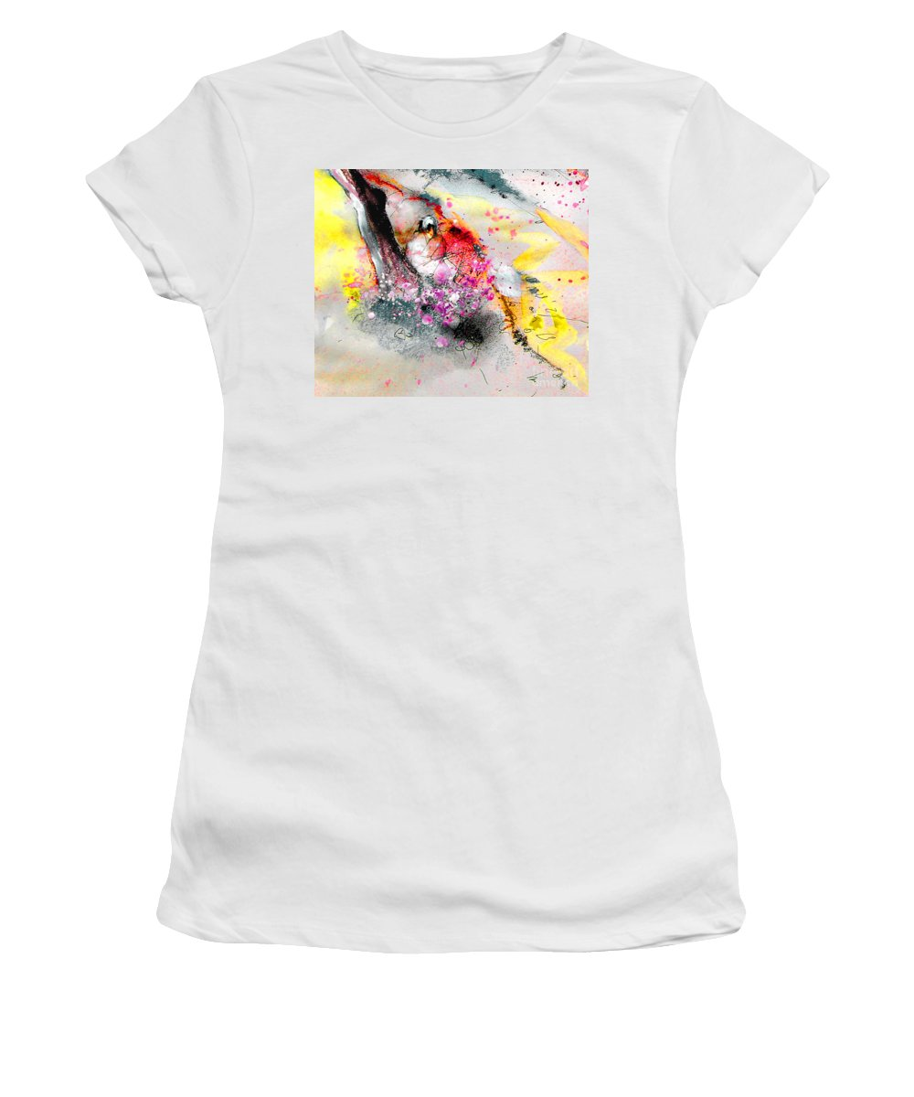 Pastel Painting Women's T-Shirt (Athletic Fit) featuring the painting Sunday By The Tree by Miki De Goodaboom